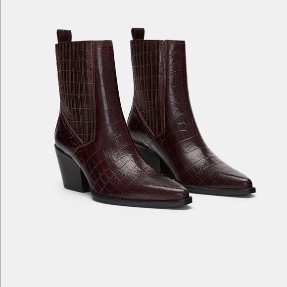 cc02321e99 Zara Shoes | Burgundy Leather Animal Print Ankle Boots | Poshmark